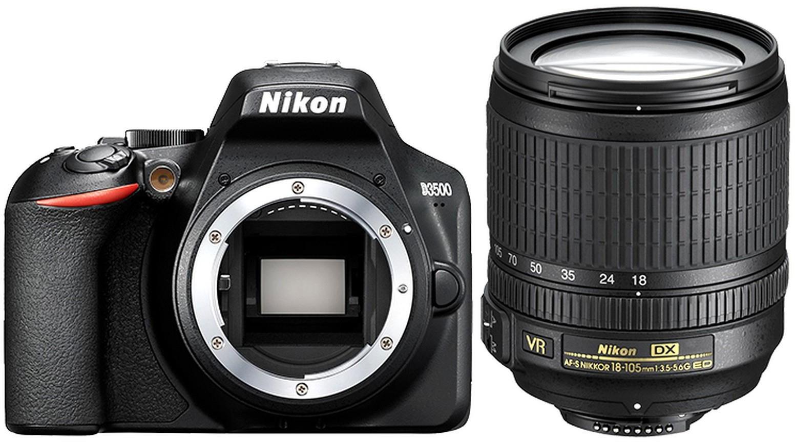 Зеркальная фотокамера Nikon D3500 18-140mm, цвет: черный зеркальный фотоаппарат nikon d7500 af s dx nikkor 18 105vr черный