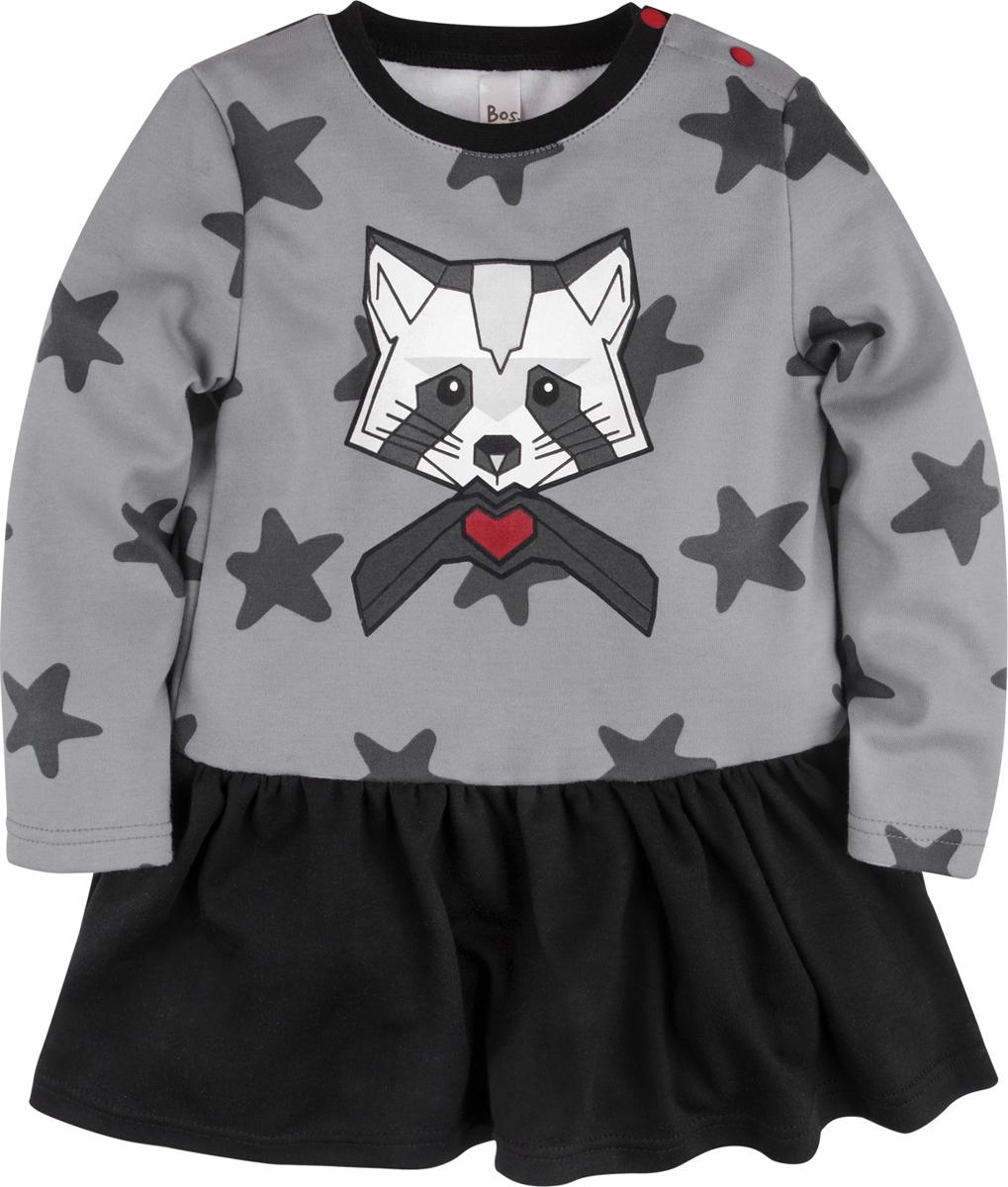 Платье детское Bossa Nova Panda Baby, цвет: серый, черный. 152Б-371. Размер 86152Б-371Комбинированное платье Bossa Nova трапециевидного силуэта. Верх выполнен из набивного трикотажа, юбка из однотонного трикотажа. Детали: принт, застежка на контрастную кнопку на плече.