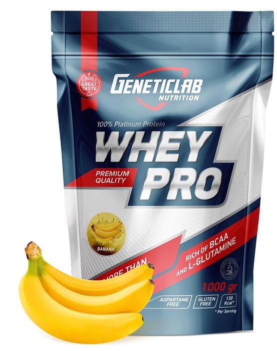 Протеин сывороточный Geneticlab Nutrition Whey Pro, банан, 1 кг протеин сывороточный red star labs beowulf whey pro клубничный десерт 1 8 кг
