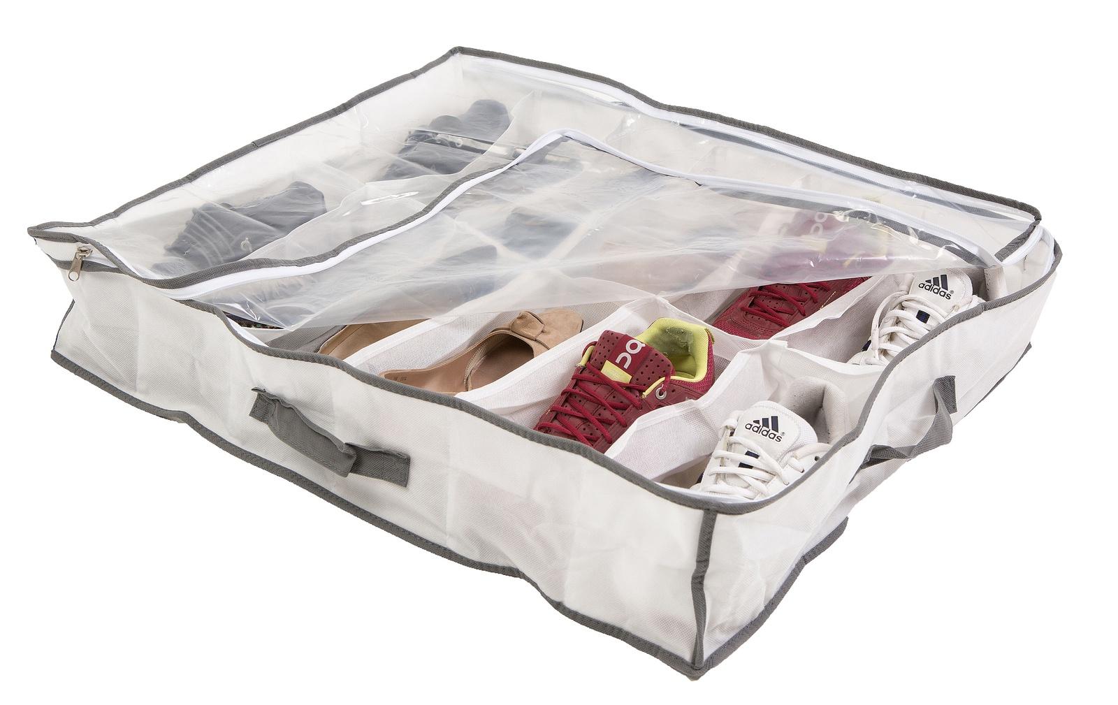 Подкроватнвй органайзер Bella Casa, для хранения 12 пар обуви, цвет: белый. BC25013 сушильный стеллаж для обуви змк zmk komfor на 70 пар