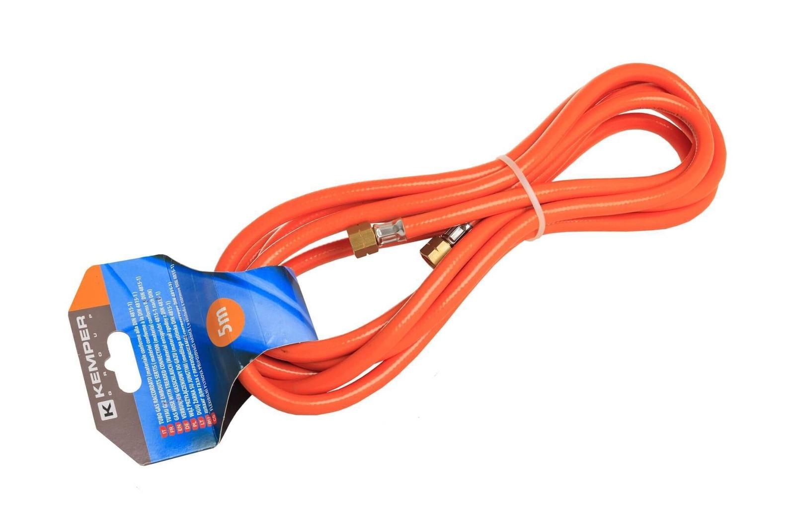цена на Шланг газовый KEMPER 61805F, левая резьба 3/8, горелка на 3/4 баллон, 5 м
