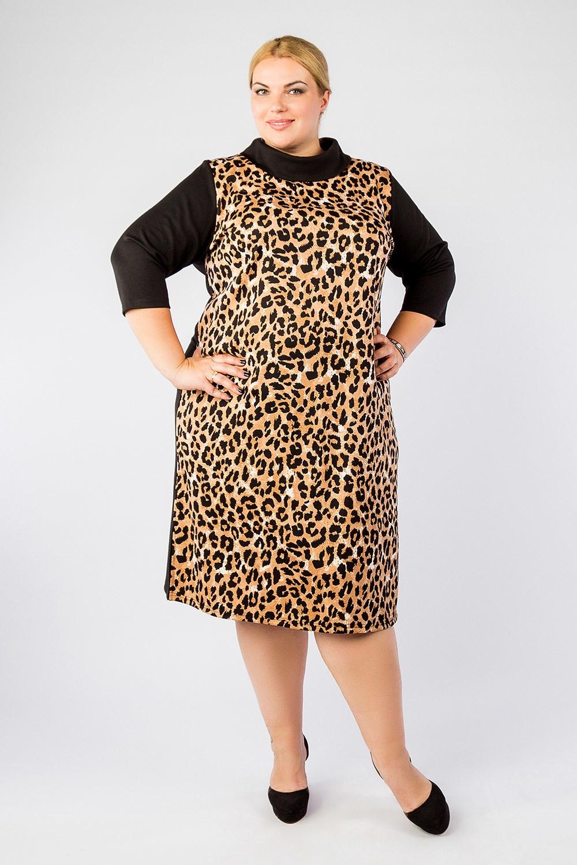 Платье Артесса, цвет: черный, коричневый. PP16006. Размер 72PP16006BLK16S64Эффектное платье большого размера. Платье с мягким воротником «хомут». Рукав втачной, 3\4. Платье прямого кроя, с разрезами по бокам примерно 25 сантиметров. Передняя часть платья с принтом, а вот спинка однотонная.