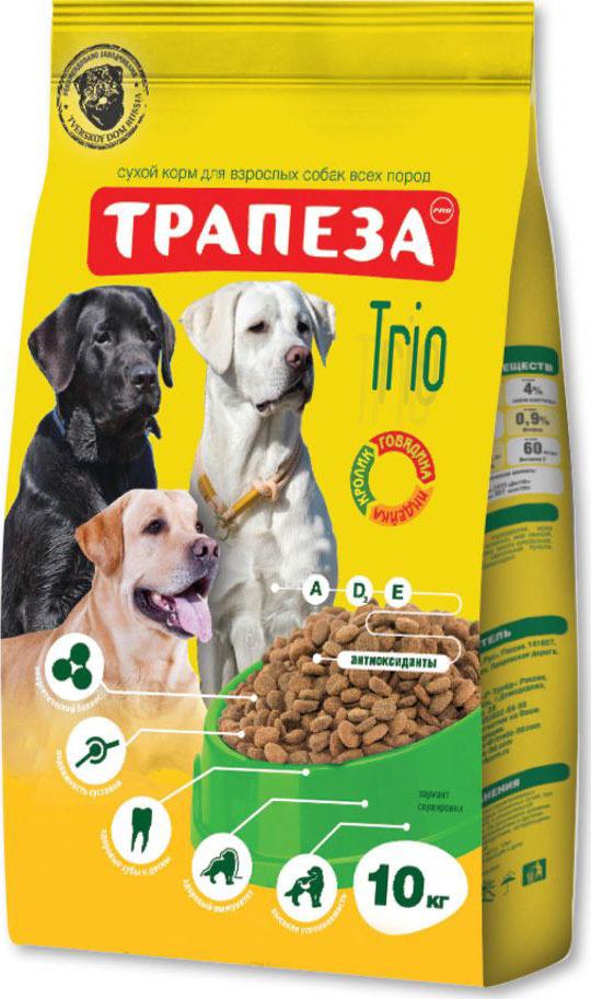 Корм сухой для собак Трапеза Трио, говядина, индейка, кролик, 10 кг цена