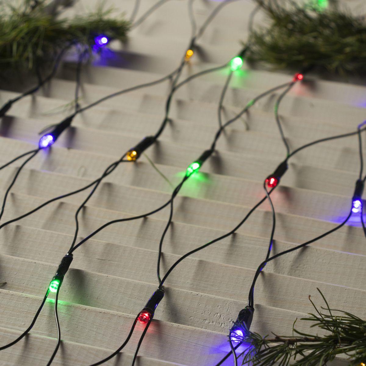 Гирлянда электрическая Luazon Lighting Сеть, нить темная, цвет: разноцветный, 224 LED, 220 V, 8 режимов, 2 х 2 м гирлянда уличная luazon lighting сеть умс нить прозрачная цвет разноцветный 192 led 2 х 1 5 м
