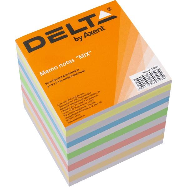 Блок для записей Delta MIX, 90х90х90 мм, непроклеенная бумага для записей многоцветная index 90х90х90