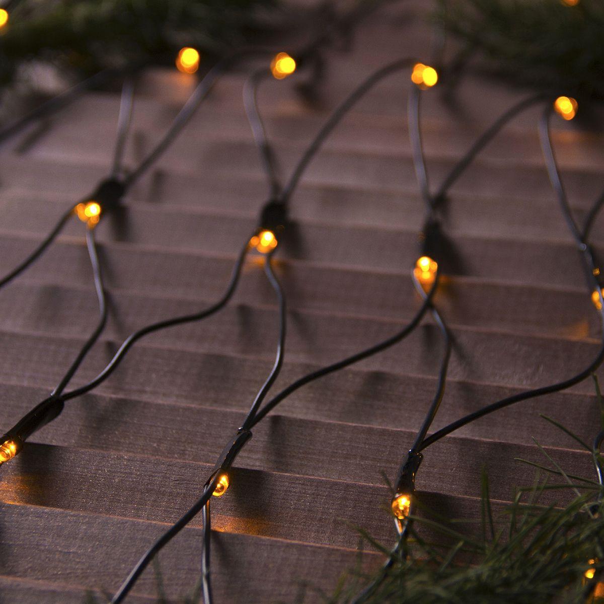 Гирлянда уличная Luazon Lighting Сеть, УМС, нить темная, цвет: желтый, 192 LED, 2 х 1,5 м гирлянда уличная luazon lighting сеть умс нить прозрачная цвет разноцветный 192 led 2 х 1 5 м