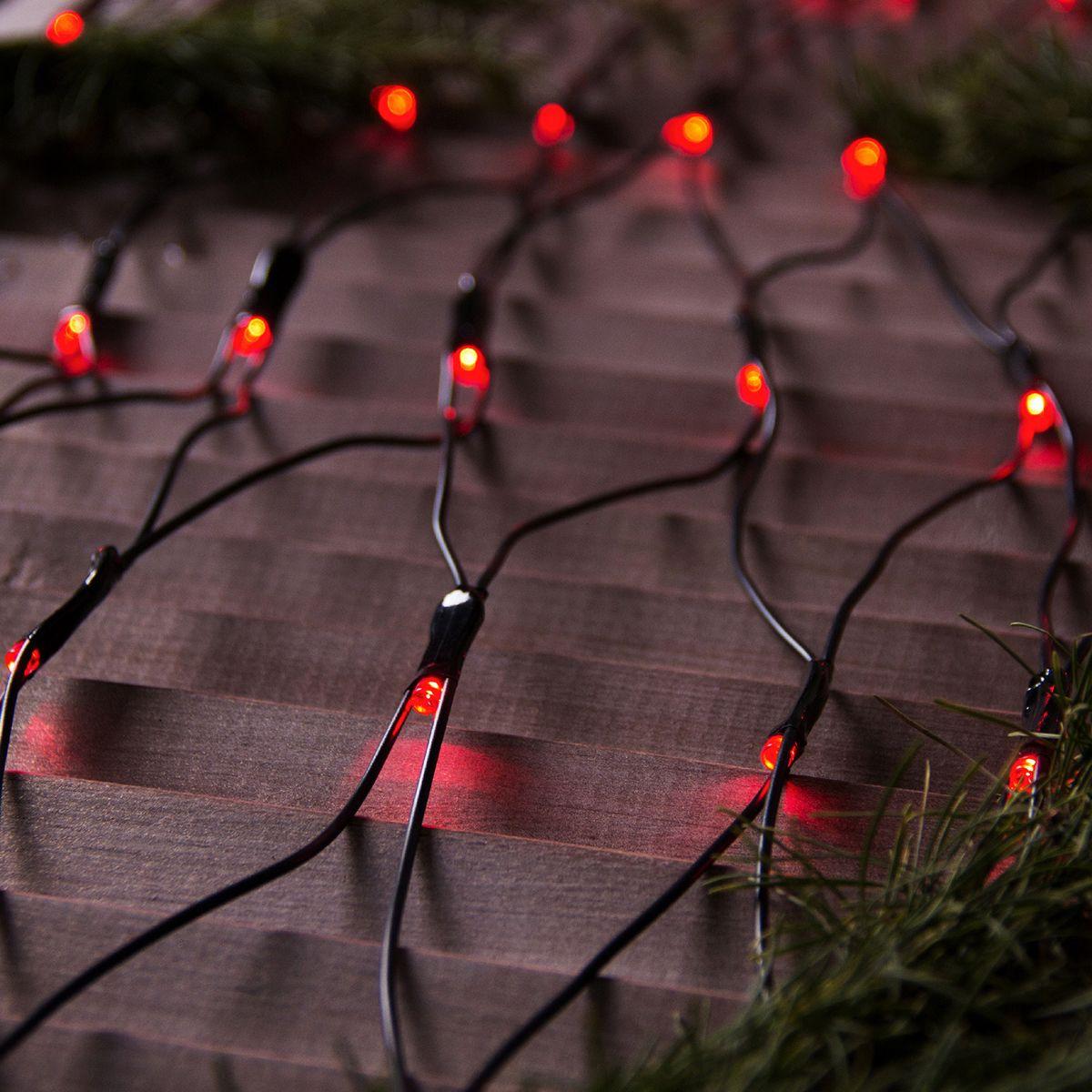 цена на Гирлянда уличная Luazon Lighting Сеть, УМС, нить темная, цвет: красный, 192 LED, 2 х 1,5 м