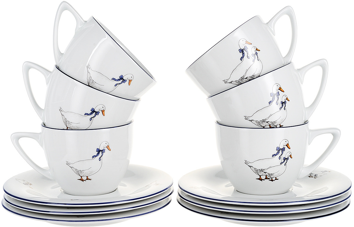 Фото - Чашка с блюдцем Thun Гуси. Здена, 6 шт [супермаркет] jingdong геб scybe фил приблизительно круглая чашка установлена в вертикальном положении стеклянной чашки 290мла 6 z