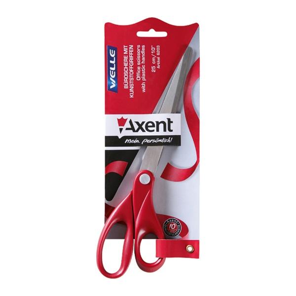 Ножницы Axent Welle, офисные, цвет: красный, длина 25 см