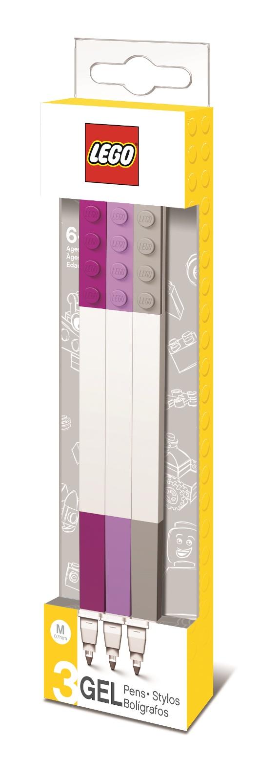 Набор цветных гелевых ручек Lego, цвет: бордовый, лиловый, серый, 3 шт набор гелевых ручек action алиса 3 шт синий 0 5 мм az agp153 3