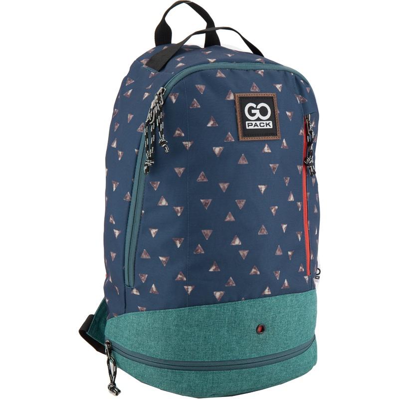 Рюкзак GoPack 123 GO-1, цвет: синий, зеленый gopack gopack ранец школьный under construction синий