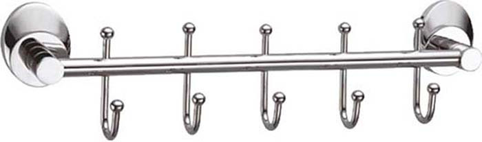 Планка с крючками для ванной Fixsen Europa, 5 крючков, цвет: серебристый. FX-21805-5