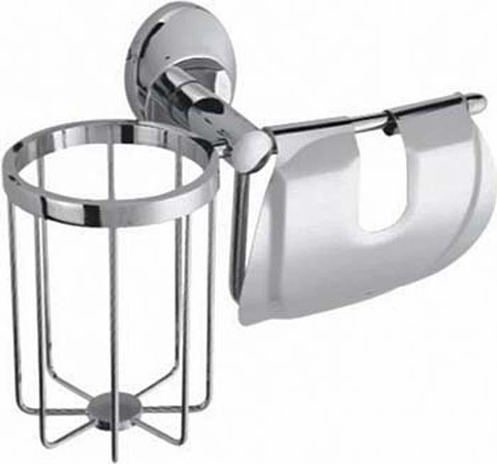 Держатель для туалетной бумаги Fixsen Europa, с держателем для дезодоранта, цвет: серебристый. FX-21809+10