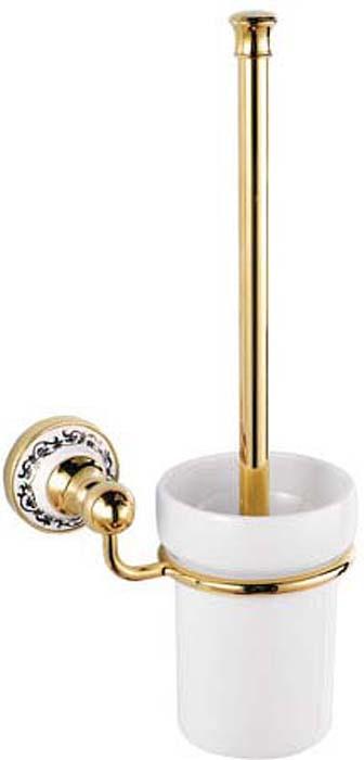 Ершик для унитаза Fixsen Bogema Gold, цвет: золотой. FX-78513GFX-78513GСерия FX-78500G «BOGEMA GOLD» Золотой блеск и классическая форма аксессуаров из этой коллекции притягивает взгляд абсолютно каждого. Декоративная вставка из керамики в основании гармонично сочетается с металлом и добавляет дизайну лёгкости. Все предметы выполнены из высококачественной стали толщиной не менее 2 мм. Современное оборудование для производства позволяет добиться идеальной стыковки частей аксессуаров и толстого прочного покрытия. Резиновые уплотнители в изделиях серии Bogema, равномерно распределяют нагрузку по всей площади основания и дают упругость и мягкость в использовании. Такое распределение нагрузки позволяет улучшить комфортность использования и увеличить срок службы изделий.