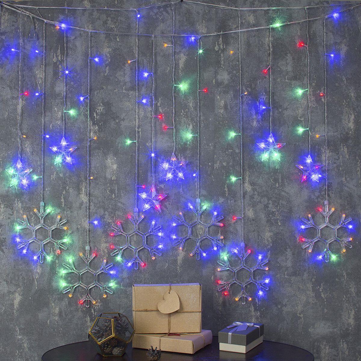 Гирлянда электрическая Luazon Lighting Бахрома. Снежинки, нить прозрачная, цвет: разноцветный, 150 LED, 220 V, 8 режимов, 2,4 х 0,9 м гирлянда уличная luazon lighting сеть умс нить прозрачная цвет разноцветный 192 led 2 х 1 5 м
