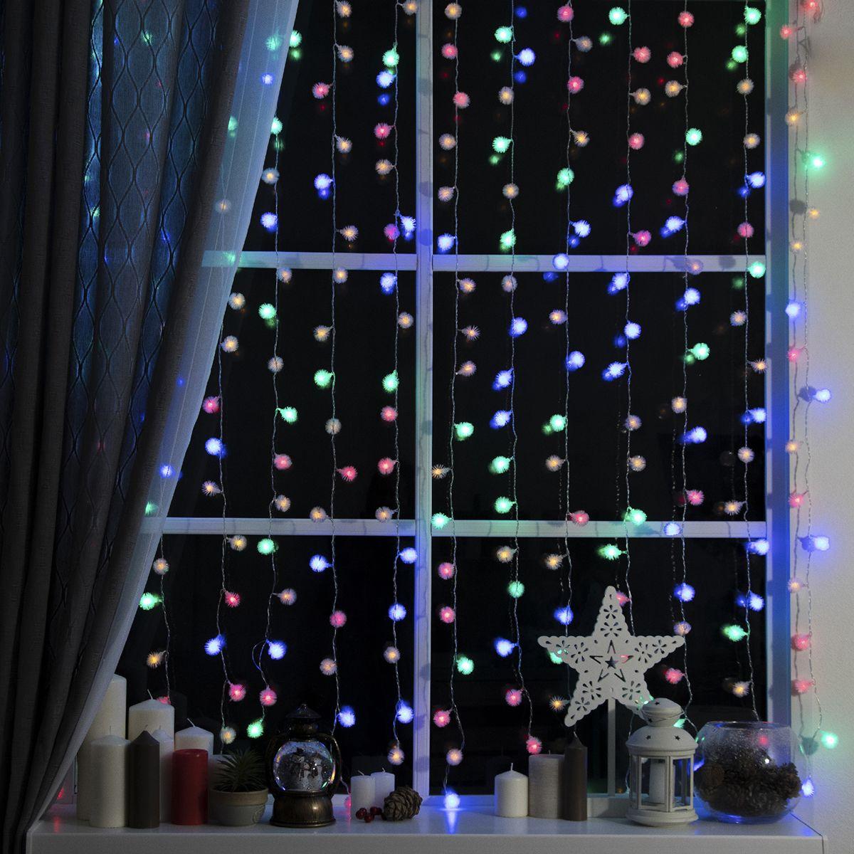 Гирлянда электрическая Luazon Lighting Занавес. Ежики, нить прозрачная, цвет: разноцветный, 360 LED, 220 V, 8 режимов, 2 х 1,5 м гирлянда уличная luazon lighting сеть умс нить прозрачная цвет разноцветный 192 led 2 х 1 5 м