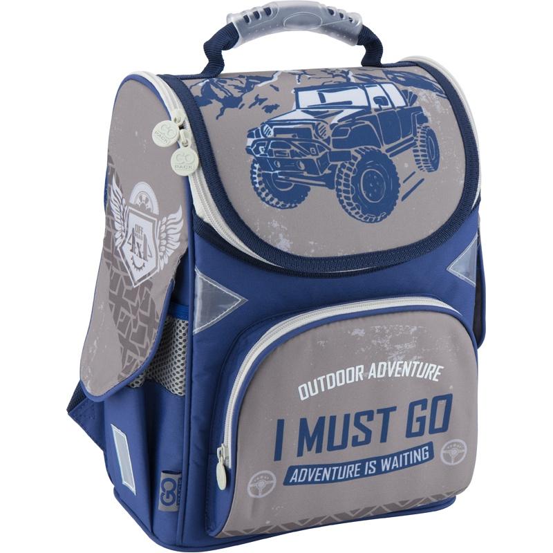 Рюкзак школьный каркасный GoPack 5001S-18 K18, цвет: серый, фиолетовый gopack gopack ранец школьный under construction синий