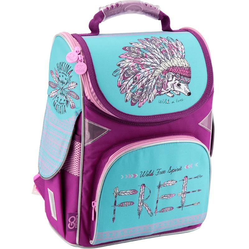 Рюкзак школьный каркасный GoPack 5001S-2 K18, цвет: фиолетовый, бирюзовый gopack gopack ранец школьный under construction синий