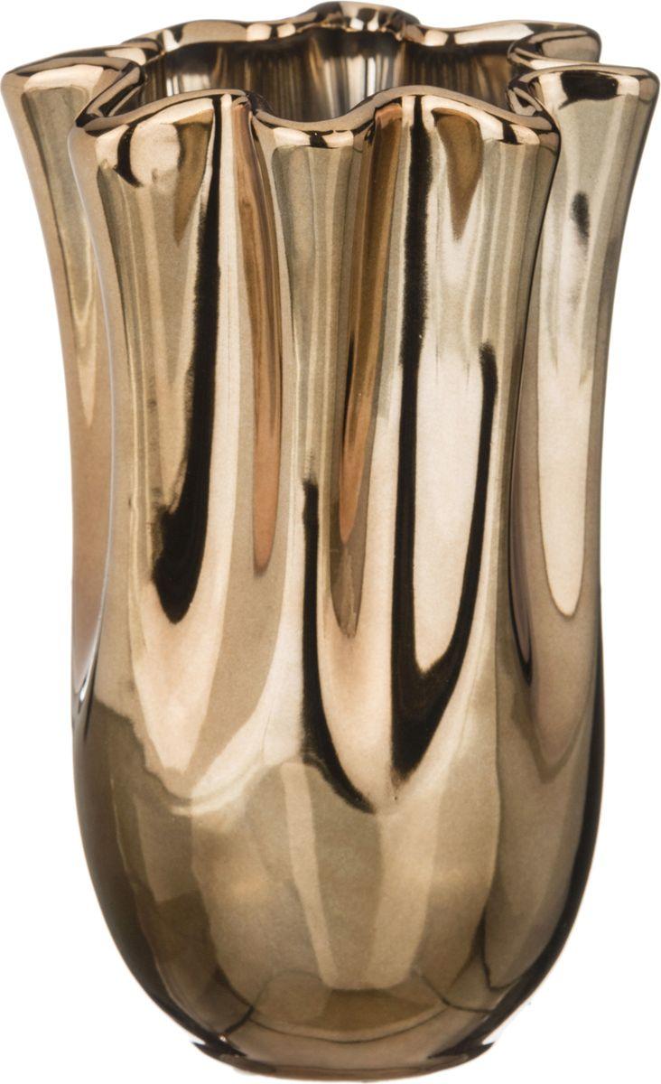 """Ваза Lefard """"Тюльпан"""", цвет: золотистый, 14,5 х 14,5 х 27,5 см"""