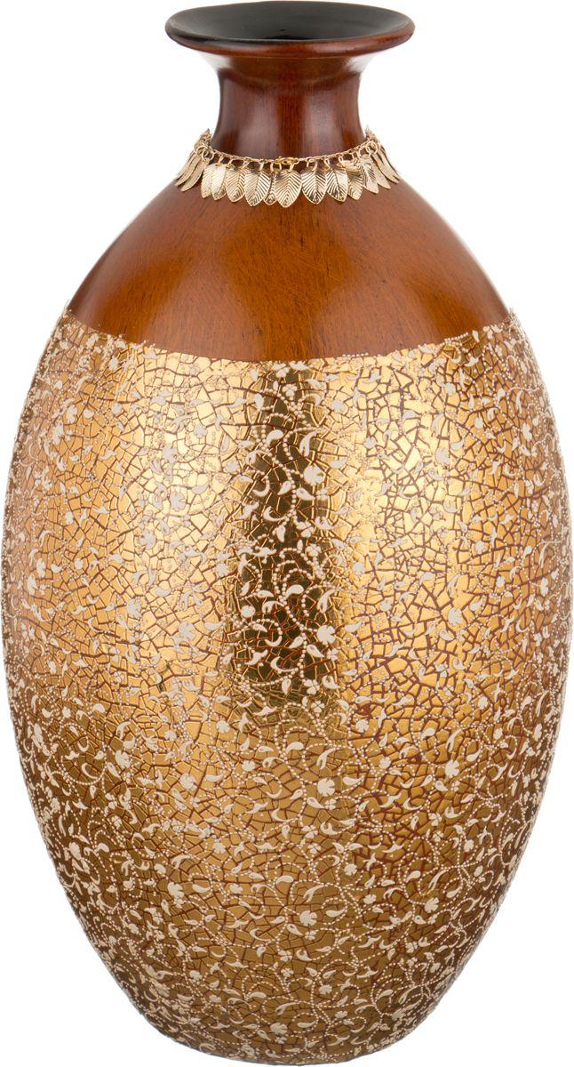 Ваза Lefard Золотая россыль, цвет: коричневый, высота 42 см ваза nina glass грейси цвет оранжевый высота 19 см