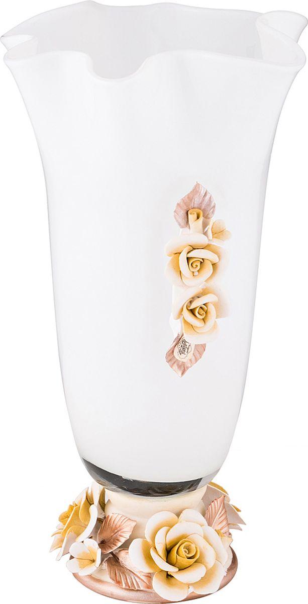 Ваза Lefard Флорентина, цвет: белый, 20 х 20 х 34,5 см. T5126 ваза lefard diamantes 64 291 белый 12 х 12 х 24 см