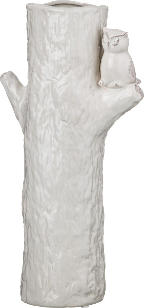Ваза Lefard Совенок на дереве, цвет: белый, высота 30,5 см ваза nina glass грейси цвет оранжевый высота 19 см