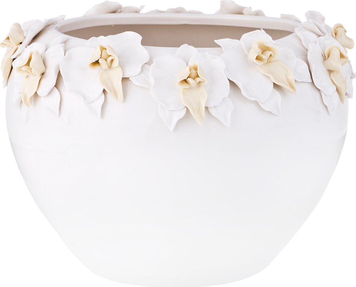 Ваза Lefard Орхидея, цвет: белый, 27 х 27 х 19,5 см ваза lefard diamantes 64 291 белый 12 х 12 х 24 см