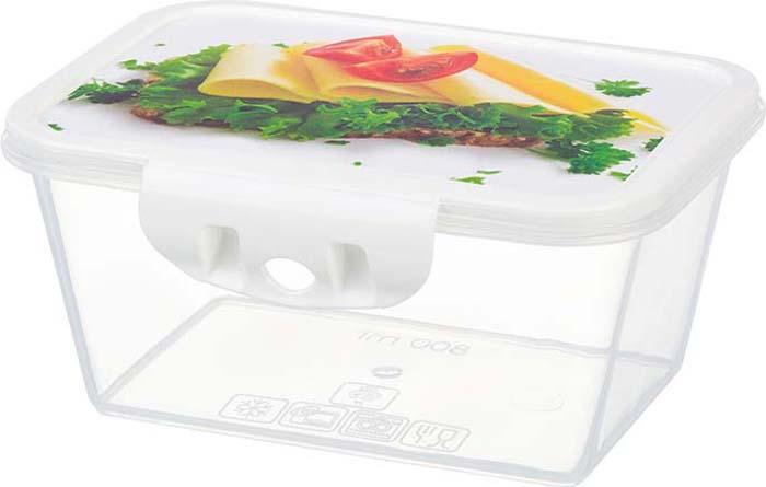 Контейнер пищевой Violet Тост, цвет: прозрачный, зеленый, 800 мл. 811269 контейнер пищевой elff decor цвет зеленый 800 мл