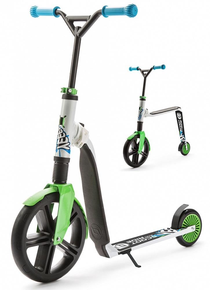 Самокат-беговел Scoot&Ride Highway Gangster 2 в 1, трансформер, цвет: белый/зеленый