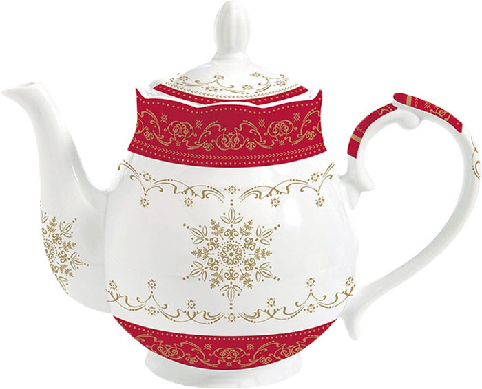 Чайник заварочный Easy Life Hermitage, цвет: белый, красный, 900 мл r2s