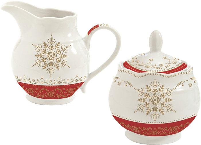 Набор сахарница и молочник Easy Life Hermitage, цвет: белый, красный