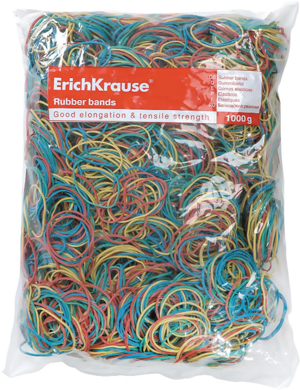 Резинка банковская Erich Krause, 60, 80, 100 мм, цвет: мультиколор, 1 кг