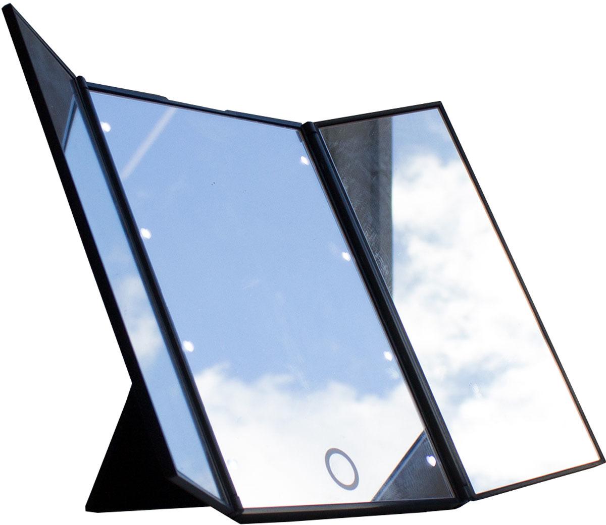 купить Зеркало косметическое Gess uLike Porto, складное трехстворчатое, с подсветкой, 8 LED ламп по цене 829 рублей