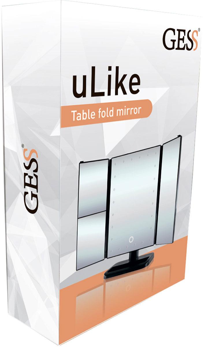 Зеркало косметическое Gess uLike, раскладное, сенсорный экран, с подсветкой, 24 LED лампы Gess
