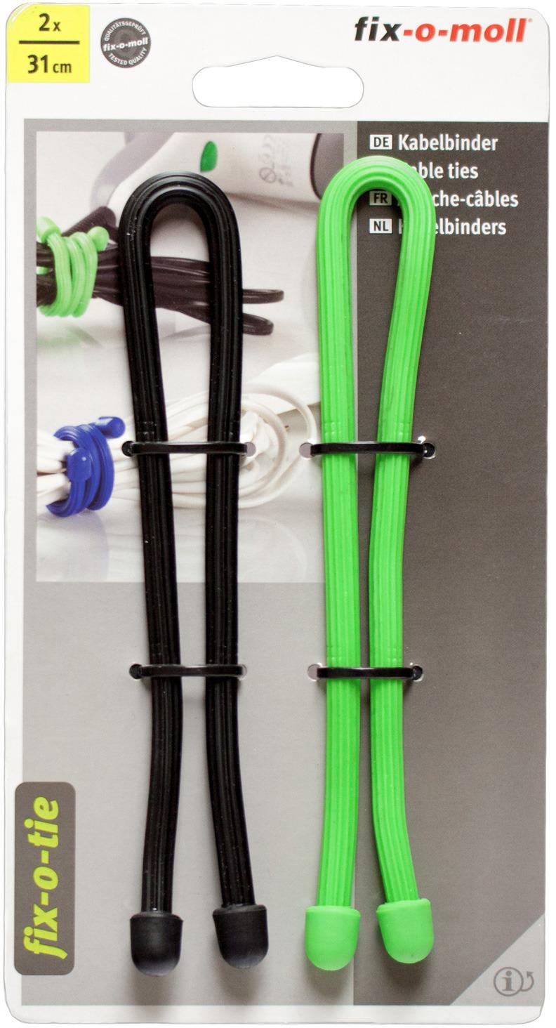Cтяжка для кабеля Fix-o-moll, 31 см, цвет: зеленый, черный, 2 шт