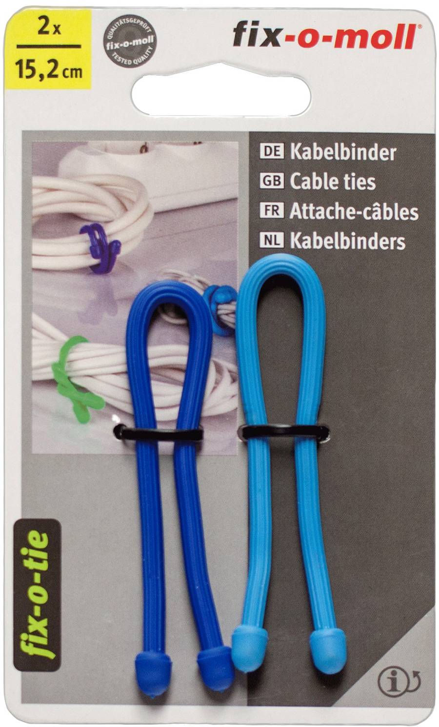 Cтяжка для кабеля Fix-o-moll, 15,2 см, цвет: голубой, синий, 2 шт