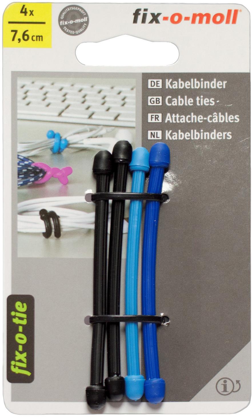 Cтяжка для кабеля Fix-o-moll, 7,6 см, цвет: голубой, синий, черный, 4 шт