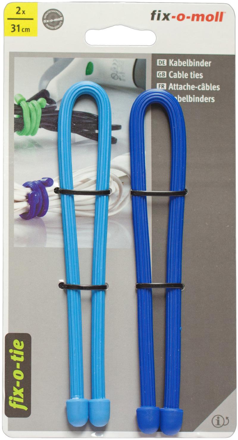Cтяжка для кабеля Fix-o-moll, 31 см, цвет: голубой, синий, 2 шт