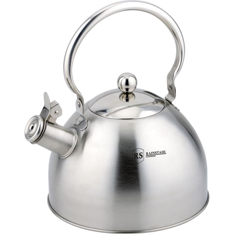 Чайник металлический Rainstahl, со свистком, цвет: серебристый, 3,0 л. 7613-30RS\WK чайник rainstahl со свистком цвет белый 3 л 7540 30rs wk