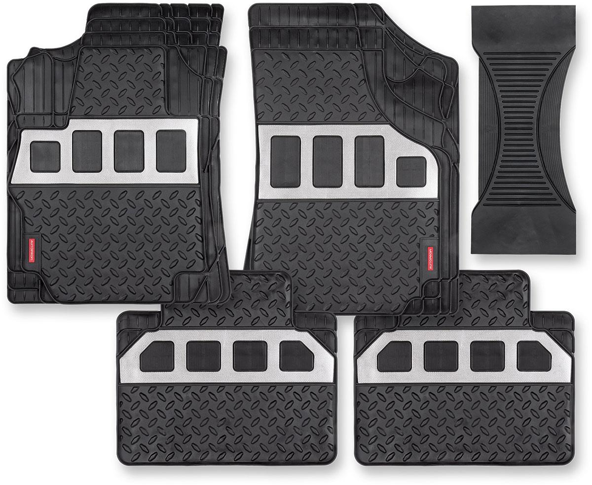Коврики в салон автомобиля Autoprofi, вставка под алюминий, цвет: черный, 5 шт цены онлайн