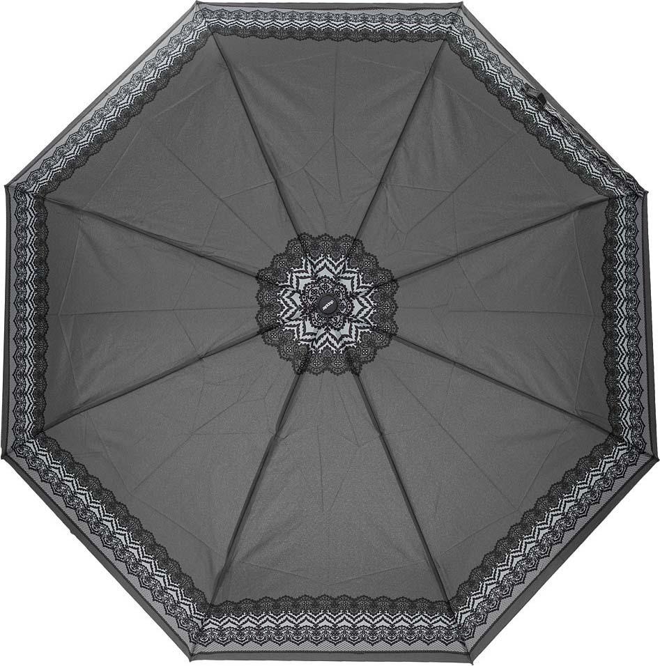 Зонт женский Doppler, 3 сложения, полный автомат, цвет: серый. 744146526 2 цена и фото