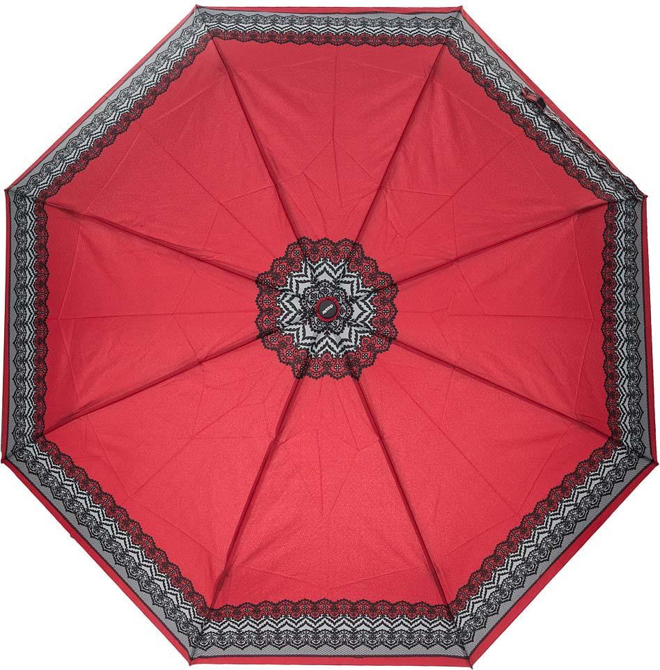 Зонт женский Doppler, 3 сложения, полный автомат, цвет: красный. 744146526 7 зонт трость женский doppler цвет красный 714765l