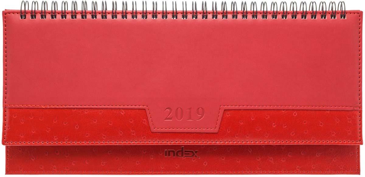 Планинг Index Desert 2019, датированный, 30,5 х 14 см, красный, 128 страниц планинг датированный index basic 2018 ipd1518 rd