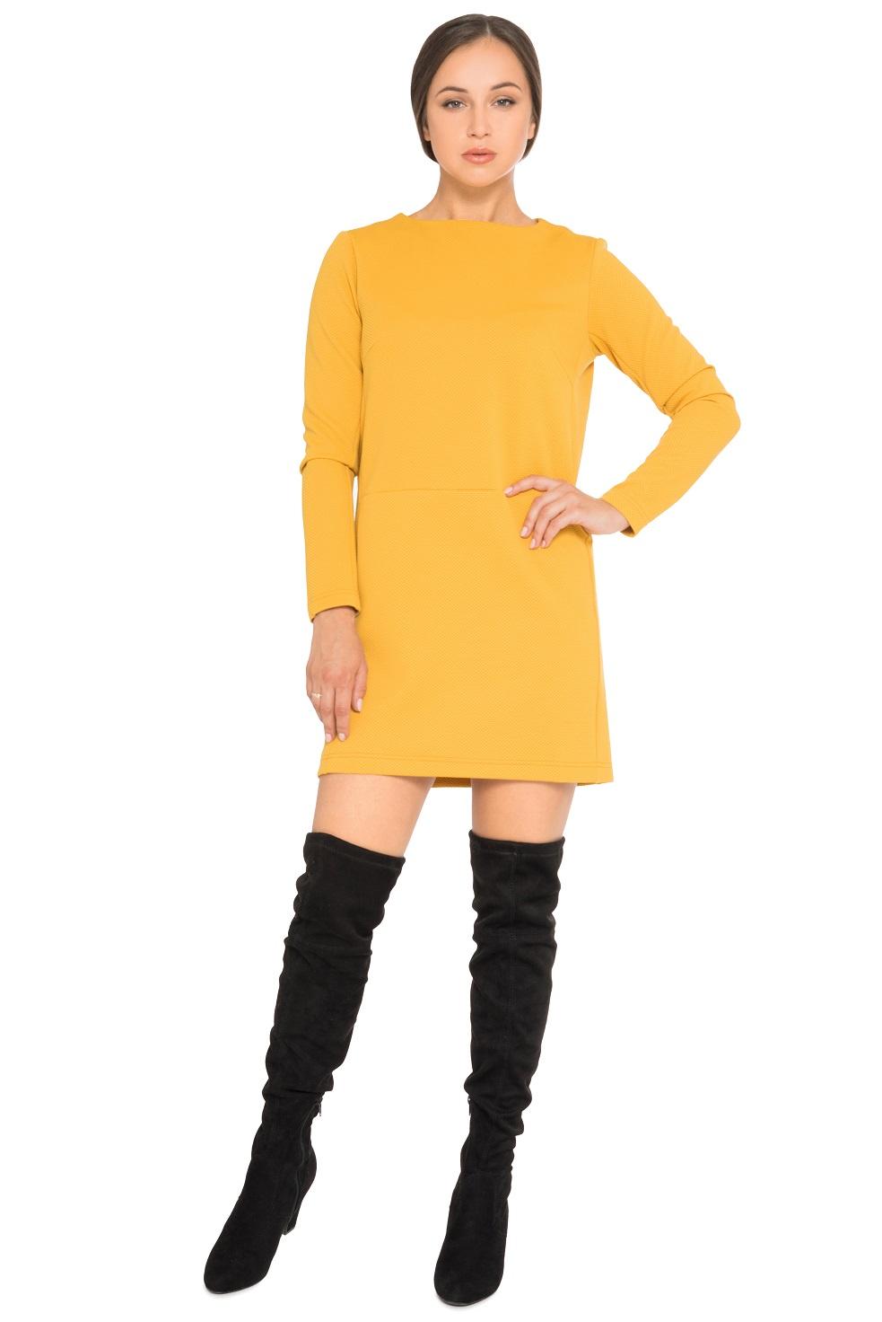 Платье ZAFTO 181060848, желтый 48 размер181060848Платье-мини из фактурной ткани. Без застежки.