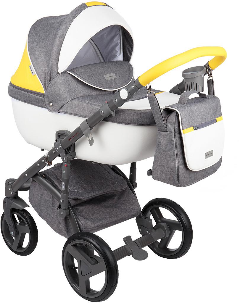 Коляска универсальная Adamex Massimo Sport, цвет: белый, серый, желтый недорого
