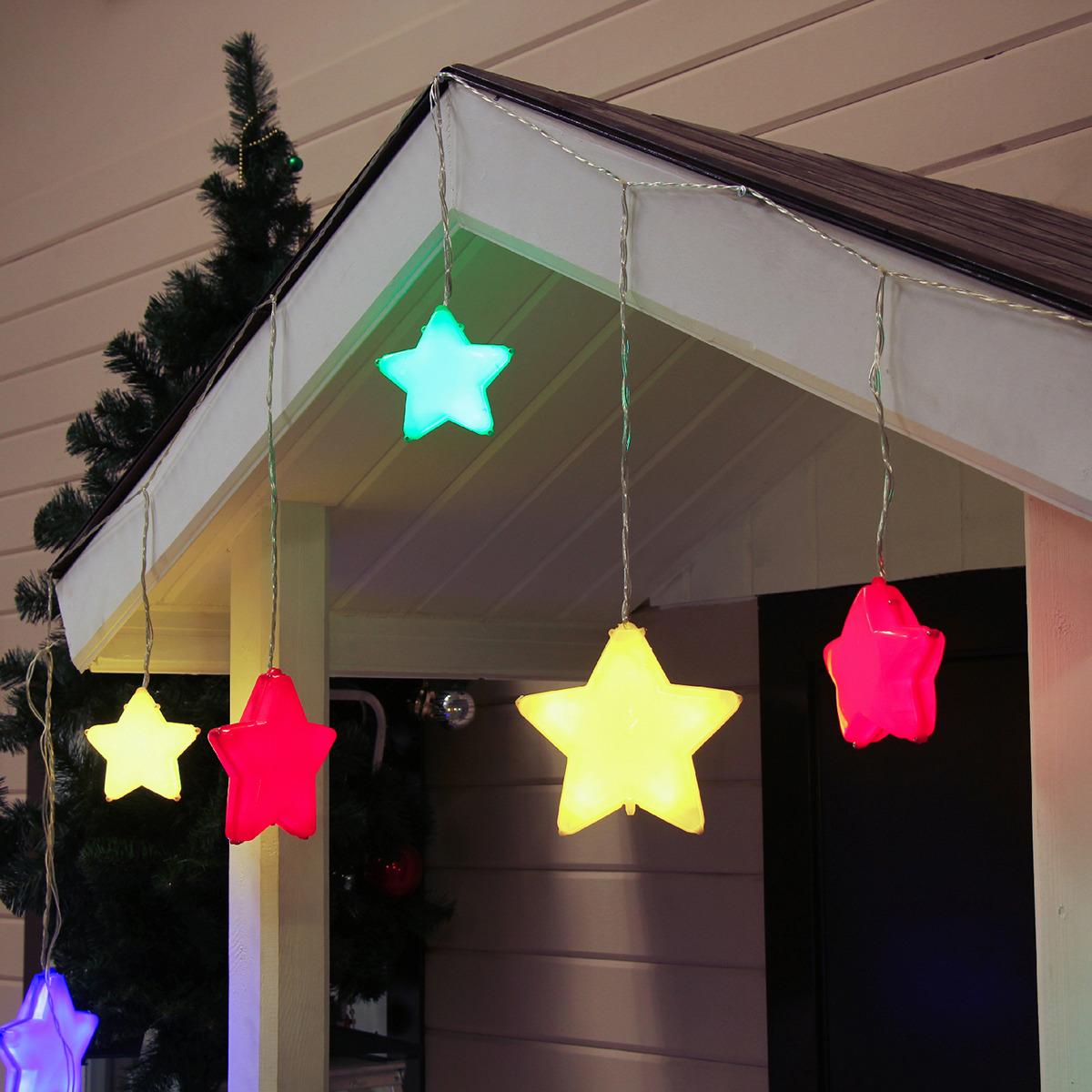 цена на Гирлянда уличная Luazon Lighting Бахрома. Звезды, УМС, цвет: разноцветный, 2,5 х 0,66 м