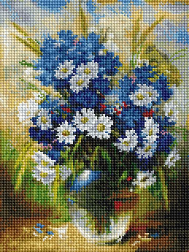 Алмазная мозаика Белоснежка Ромашки и васильки. 382-ST-S наборы для поделок белоснежка розы и фиалки 277 st s