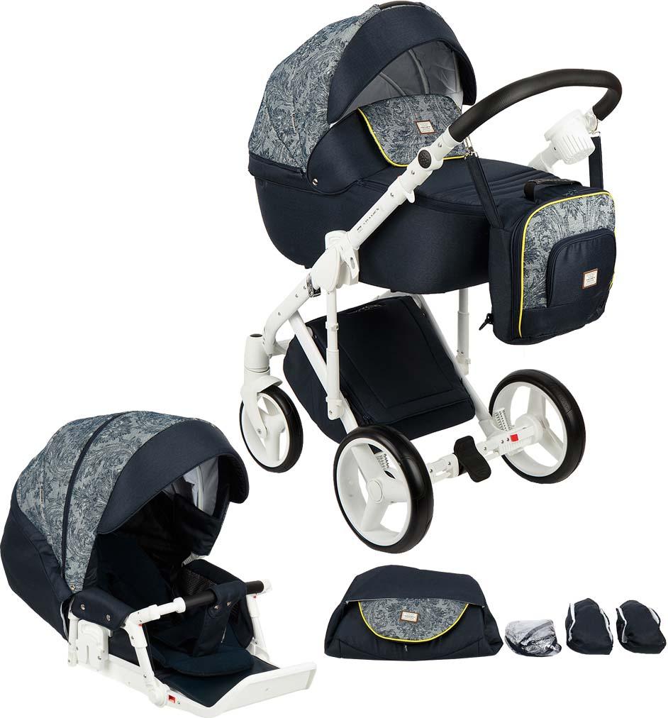 Коляска универсальная Adamex Luciano, цвет: темно-синий, синий принтQ214Luciano - это коляска, предназначенная не только для безопасности, но для комфорта ребенка. Рама оснащена двойным новым амортизатором. Плавность и манёвренности модели обеспечивается посредством плавающих колёс. Прогулочный блок также так и короб может послужить для малыша прекрасным способом организовать увлекательную прогулку. Важно обратить внимание на лёгкость конструкции, а также на регулирующуюся по высоте ручку. Специальная сумка, находящаяся внизу модели является чудесным поводом захватить на прогулку любимые игрушки. Регулировка подножки пол высоте – да, регулировка ручки по высоте – да, перекидная ручка – нет, положение ребенка в коляске – можно менять, ремни безопасности – 5титочечные, комплектация: противомоскитная сетка, подстаканник, сумка для мамы, матрасик. Особенности: надувные колеса, прогулочный блок, амортизация, поворотные колеса, москитная сетка. Крупногабаритный товар.