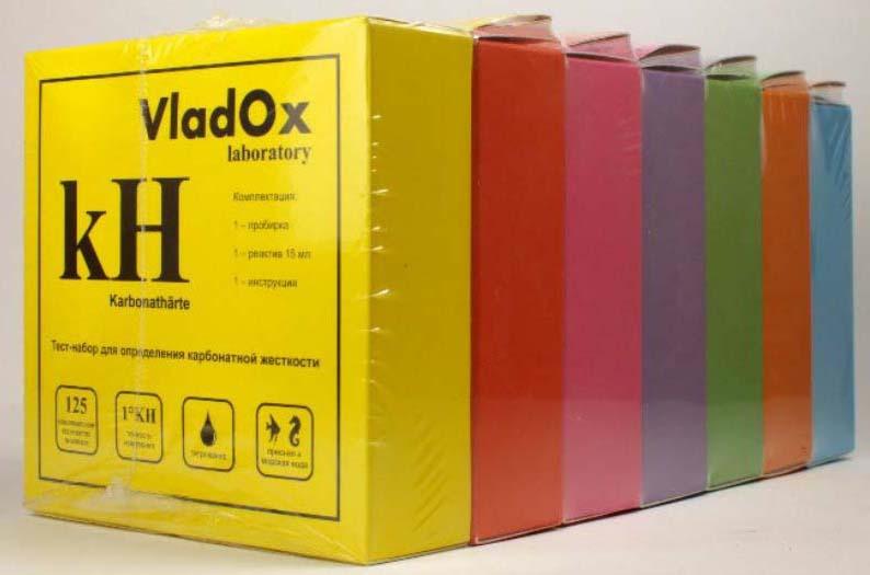 Тест-набор VladOx 7в1, для измерения уровня gH, kH, pH, NO2, NO3, NH3/4, PO4 в воде