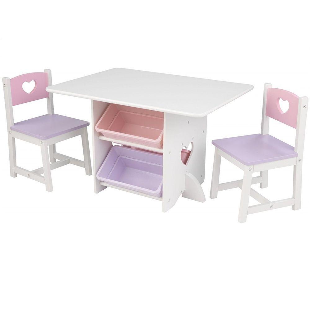 Набор мебели KidKraft Heart, для девочек, цвет: белый, сиреневый, розовый, 7 предметов игровой набор kidkraft стол и 2 стула модерн белый